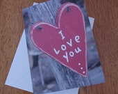Valentin Card, I Love You... Heart, Blank Notecard