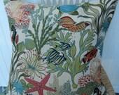Woven Decorative Pillow Cover-Fun Contemporary 20 x 20, 18 x 18--Throw Pillow-Aqua, Coral, Blue, Green, Orange, Yellow, Cream.