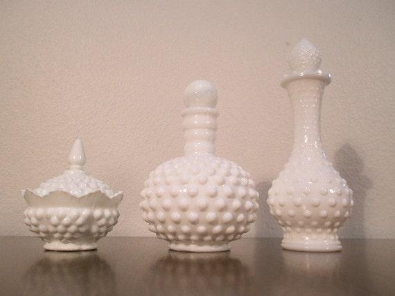 VINTAGE MILK GLASS Collection - Hobnail