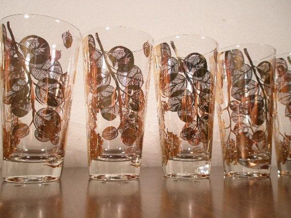 VINTAGE GOLD Glasses - 4 Pieces Gold Leaves - Gold Leaf