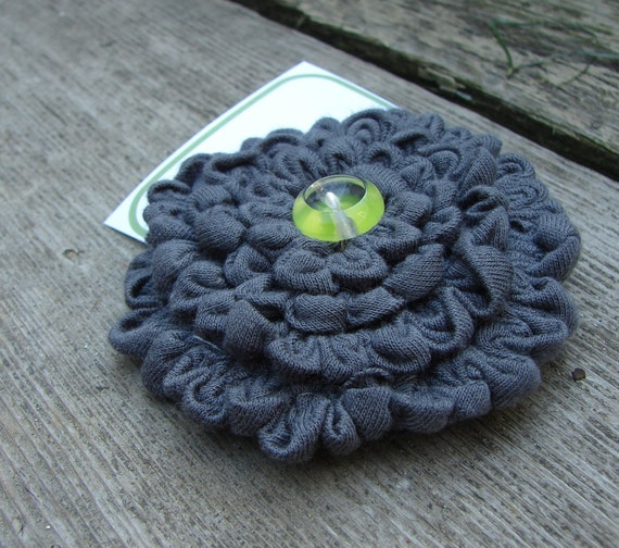 SALE Cotton Jersey Runched Flower Pin Vintage Button Grey Smoke Charcoal Lime Green