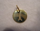 Hand Stamped Eiffel Tower Charm Gold Custom Add A Charm Handstamped Gold Eiffel Tower Charm FREE SHIPPING