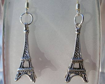 Eiffel Tower Earrings Antiqued Silver Plated And 24K Gold Plated Eiffel Tower Charm Earrings