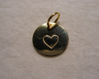 Handstamped Heart Charm Gold Custom Add A Charm Gold Hand Stamped Heart Charm FREE SHIPPING