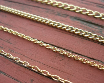 Finished Gold Chain Bracelet of Your Choice With Lobster Clasp Nickel Free 14k Gold Plated Chain