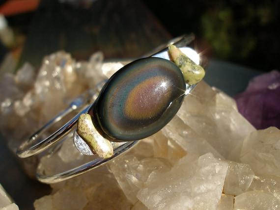 Rainbow Obsidian Cuff Bracelet Silver FREE SHIPPING