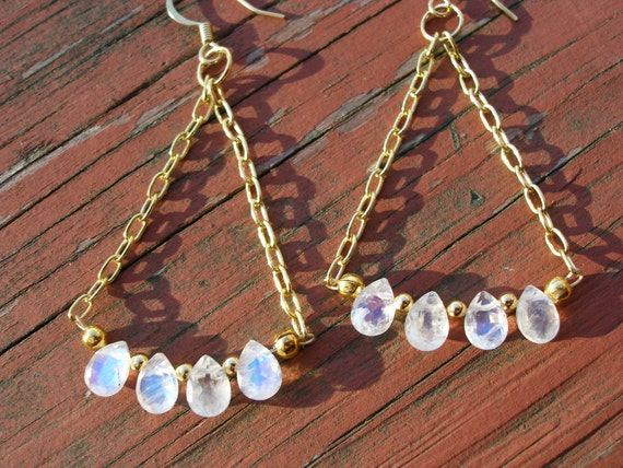 Rainbow Moonstone Earrings Faceted Blue Flash Moonstone Teardrops Gold Chain Chandelier Earrings 14 kt Gold FREE SHIPPING