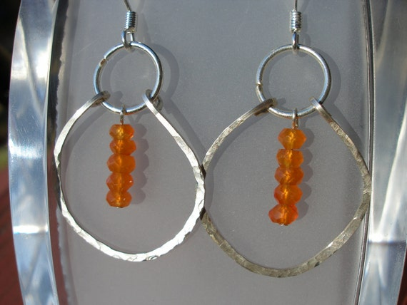 Carnelian Earrings Hammered Sterling Silver Dangling Hoops With Stacked Faceted Orange Carnelian Hammered Hoop Edition FREE SHIPPING