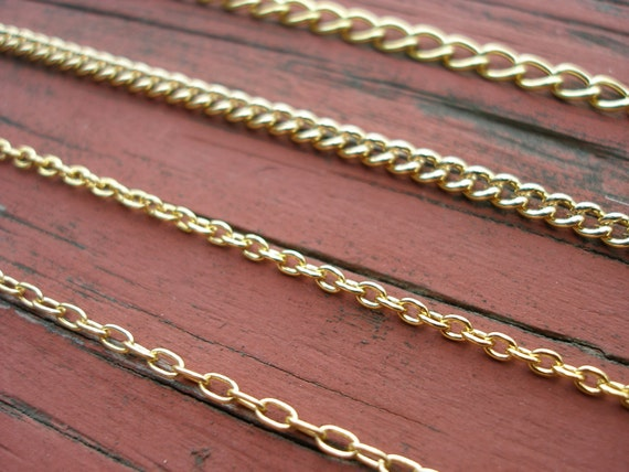 Finished Gold Chain Bracelet of Your Choice With Lobster Clasp Nickel Free 14 kt Gold Plated Chain FREE SHIPPING