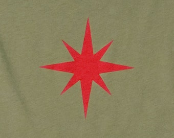 Star Olive Green Graphic Tee Womens Limited Edition Organic Cotton