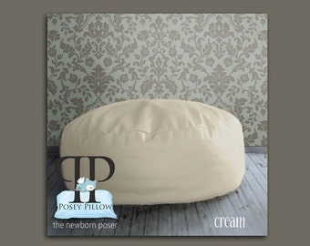 Travel Size POSEY PILLOW - The newborn poser. Puck shaped ottoman beanbag photo prop. Bean Bag.
