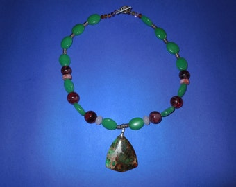 Unique green Emerald,Jasper and assorted gems, Necklace