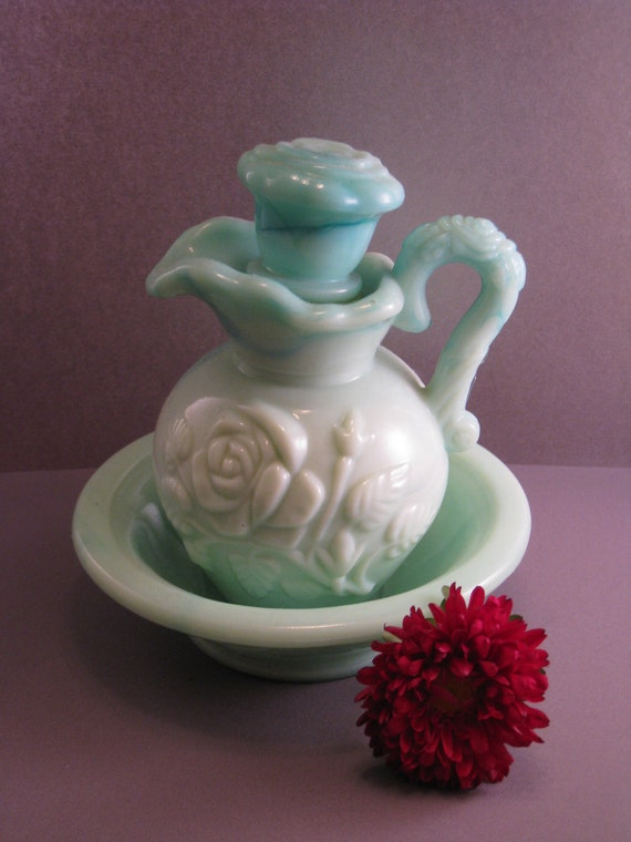 Vintage Avon 1970s Glass Vanity Pitcher Vase and Matching Dish Opaque Creamy Aqua and White