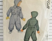 1944 Kid's Winter Snowsuit and Cap Vintage McCall's Pattern