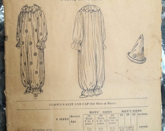 1899 Vintage Clown Costume Pattern for a Child