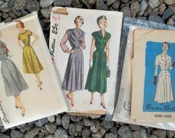 1950s Vintage Patterns 3 High Fashion Aline Dresses