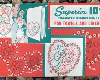 Wedding Kittens 40s Vintage Embroidery Transfer Sheet