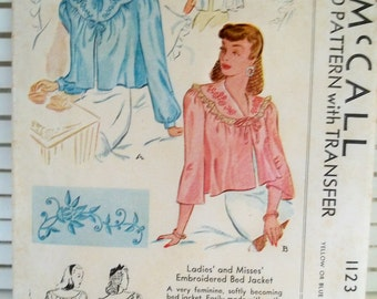 1940s Vintage Bed Jacket McCall's Patterns -1