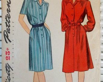 1940s Vintage Shirtdress Simplicity Patterns