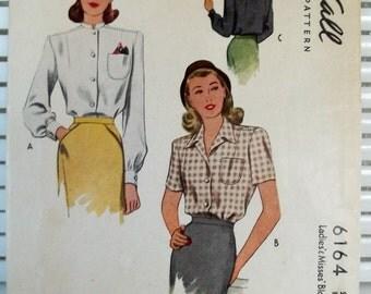 1940s Vintage Women's Blouses McCalls Patterns