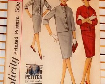 1960s Vintage Simplicity Pattern Junior Petite Suit
