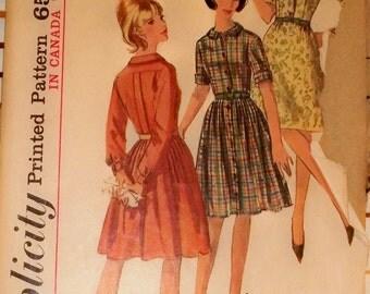 1965 Vintage Simplicity Pattern Shirtwaist Dress