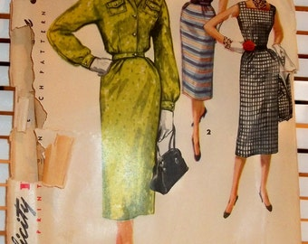 1950s Vintage Simplicity Pattern Womens Dress and Jacket