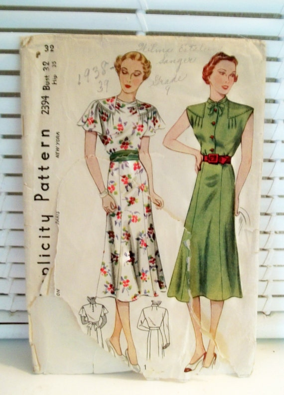 1930s Vintage Dress Pattern Simplicity by PatternJones on Etsy