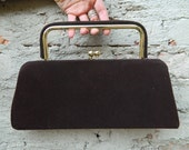 Vintage chocolate Brown and Yellow Gold Frame Handbag Purse with Clasp Closure