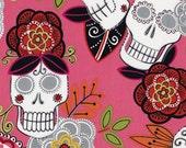 "Jardin de los Muertos - Hot Pink - Day of the Dead Sugar Skull Calaveras Alexander Henry - 24"" 3/4 of a yard"