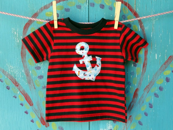 Anchor Appliqued Tshirt, Little Sailor Shirt, Red and Navy Striped Short-sleeve, Baby's Summer Clothing, Boys 12 month, READY-TO-SHIP