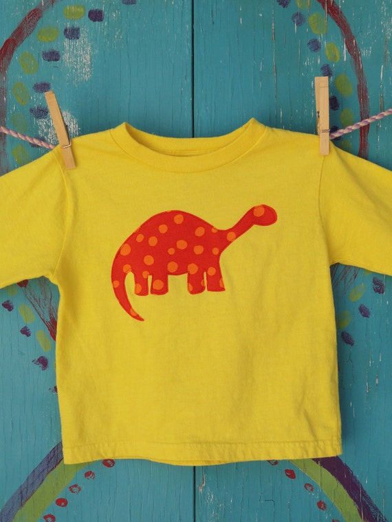 Children's Clothing, Appliqued Tshirt with Orange Dinosaur, Hand-dyed Yellow 4T Long Sleeve, READY-TO-SHIP