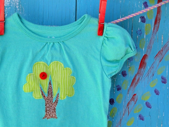 Girl's Clothing, Appliqued Tshirt with Apple Tree, Teal Cap-sleeve, 24 month/2T, READY-TO-SHIP