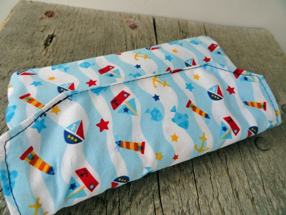 SALE, Crayon Wallet, Toddler Gift, Nautical, Quiet Activity Children's Art Take-Along Toy
