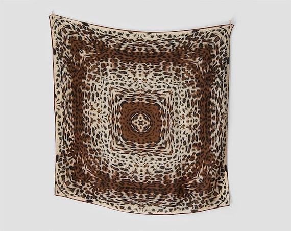 Vintage: silk scarf, square scarf, leopard print scarf, leopard scarf, animal print scarf, 80s scarf, novelty print scarf, brown