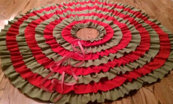Red & Green Linen Ruffled Christmas Tree Skirt