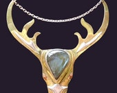 Unique Stag / Deer Necklace made with Sterling Silver, Brass, Copper, and Labridoriate stone