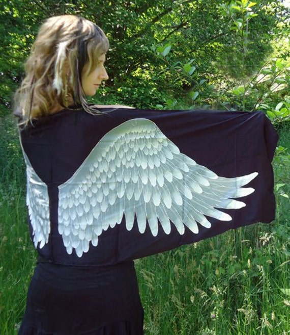 Silk Scarf with Beautiful Batik painted Wings