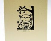 Handprinted card, owl family