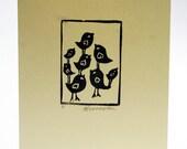 Handprinted card, family of birds 3