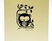 Handprinted card, owl family2