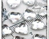 50 PCS X 10mm Diamond Heart Cabochon Crystal Clear Bling Rhinestone Resin Flat back  -Decora Nail Art /  DIY Jewelry Material (GM.DH10MW)