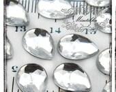 Set of 30 PCS X (10mm X 14mm) Clear Tear Drop Cabochon Bling Acrylic Rhinestone Gems Resin Flatback -Scrap booking Deco Material (GM.D10MW)