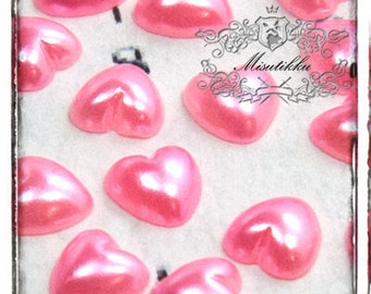 100 PCS X 6mm Pink Pearlized Heart Cabochon Resin Pearl Flat back  -Decoden Supplies /  DIY Case / Jewelry / Nail Art  Decoration (GM.PH6MP)