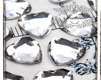 15 PCS X 16mm Clear Bling Diamond Crystal Heart Cabochon Resin Flat back  -Decoden Scrapbooking /  DIY Case / Jewelry Supplies (GM.DH16MW)