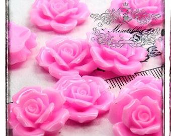 6 PCS X 30mm Pink Rose Cabochon Resin Flat Back -Deco den / Miniature Scrapbooking Craft Supply (FL14P)