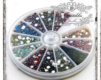 1 Box of 1200 PCS X 4mm Round Bling Rhinestone Gem Resin Faceted Flat Back Cabochon -Miniature / Nail Art / Jewelry Making (R4M.RB)