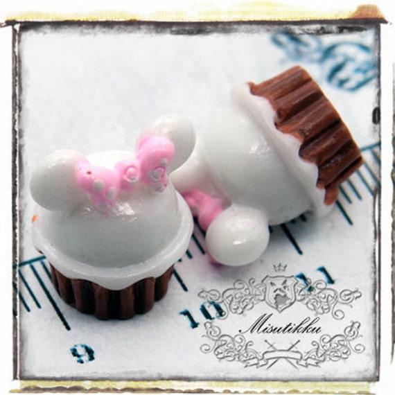 1 PC X 20MM Mickey Mouse Cream Tart Cabochon Resin Flat Back  -DIY Miniature / Mini Food Art / Decodra Craft Accessories (MK04W)