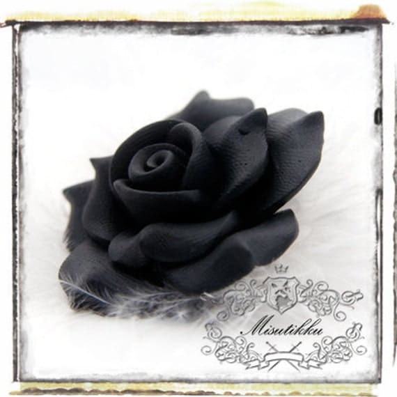 1 PC X 40mm Big Polymer Clay Black Rose Cabochon with Matte Finish Resin Flat Back -Decoden Material Craft Accessory Deco Supplies (FL05B)