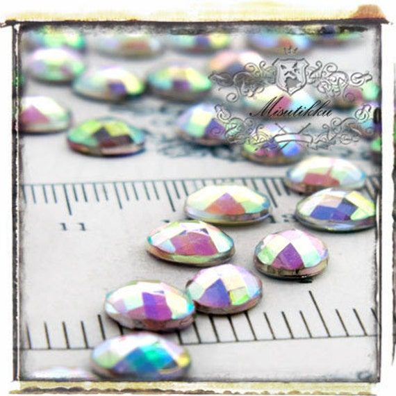 Set of 5 PCS X (8mm X 10mm) Clear AB Oval Acrylic Rhinestone Cabochon Faceted Gems -Decoden / Nail Art / Jewelry Acrylic Supply (GM.V8MA)